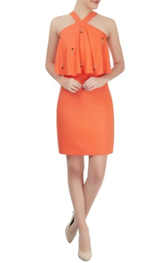 Orange embellished tube dress