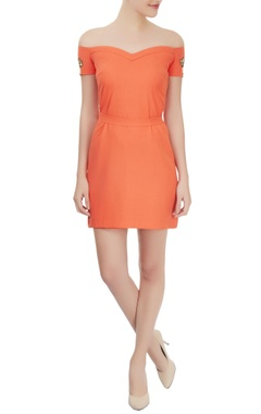 orange off shoulder dress with sword lily motifs