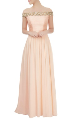peach off-shoulder dress with mirror embellishments