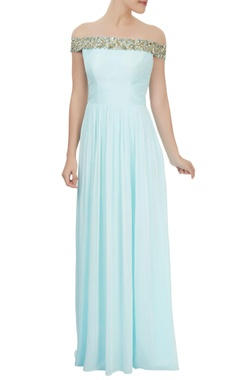 powder blue off-shoulder dress with mirror embellishments