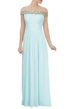 Powder blue off-shoulder dress with mirror embellishments