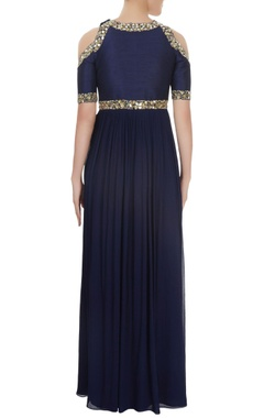 Navy blue cold shoulder pearl & sequin work gown