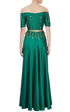 Emerald green off-shoulder top & skirt set with tassels