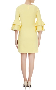 Lemon yellow ruffled sleeve embellished dress