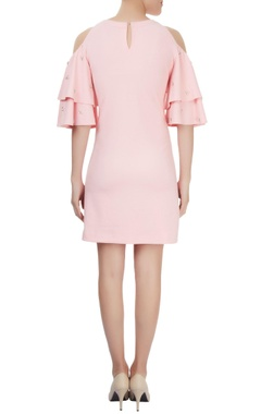 Light pink ruffled sleeve cold-shoulder dress