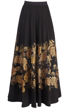 black skirt with gold tissue applique