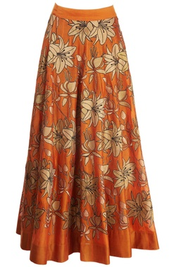 orange skirt with gold tissue applique