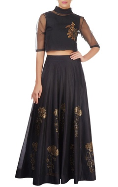 black paneled skirt with floral motifs