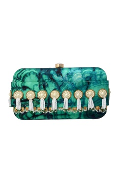 artic blue printed and embroidered clutch