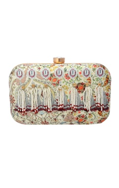 multi-coloured printed clutch