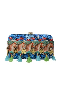 Multi-coloured printed clutch with tassels