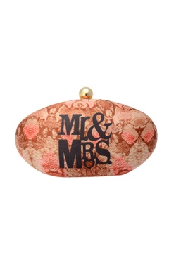 Pink box clutch with print