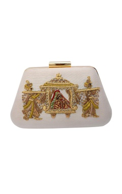 white zardozi embroidered clutch