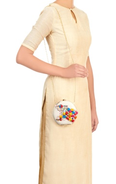White clutch with embroidered elephant