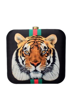 Black clutch with tiger print