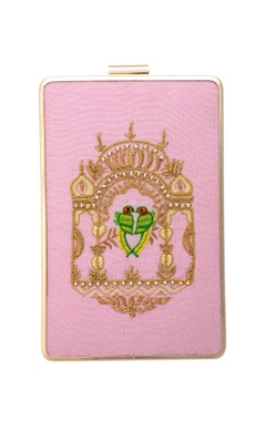 Pink clutch with embroidery