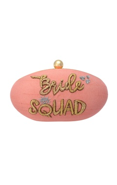 Pink clutch with embroidery in gold