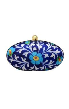 Blue floral printed clutch