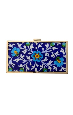 Blue printed rectangular clutch