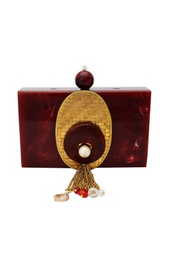 Be Chic Red & gold box clutch