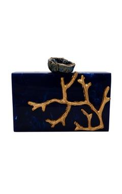 Be Chic Dark blue & gold box clutch