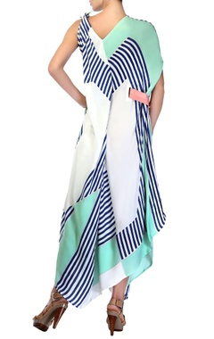 White & shaded blue asymmetrical tie up dress