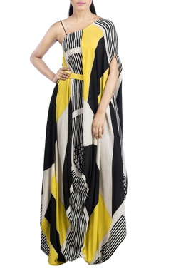 Yellow & black block printed dress