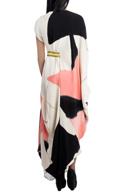 Multicolour draped dress