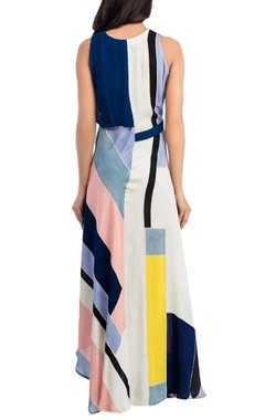 Front flap & colour block maxi dress