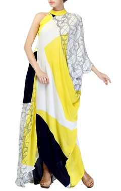 Lemon yellow block printed dress