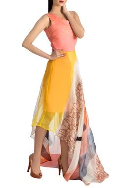 Multicoloured one shoulder dress