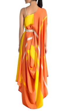 Orange & yellow brush painted dress
