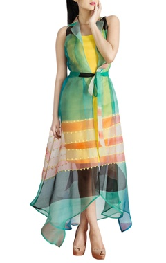 Multicolored collared dress