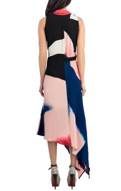Colour block asymmetrical dress