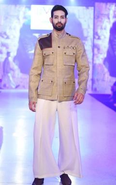 Rustic green bandhgala jacket