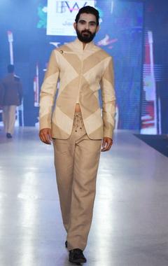 Arjun Khanna Beige & off-white bandhgala