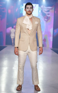 Arjun Khanna Off-white ankle-length trousers
