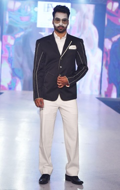 Arjun Khanna Navy blue jacket with stitch lines