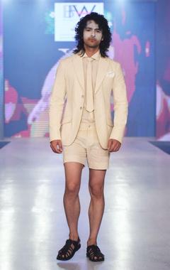Beige linen short pants