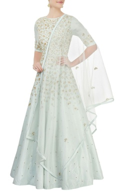 Aneesh Agarwaal Powder blue embroidered anarkali set