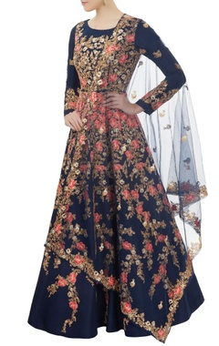 Blue embroidered anarkali Set