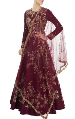 Aneesh Agarwaal Burgundy embroidered anarkali Set