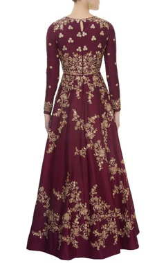 Burgundy embroidered anarkali Set
