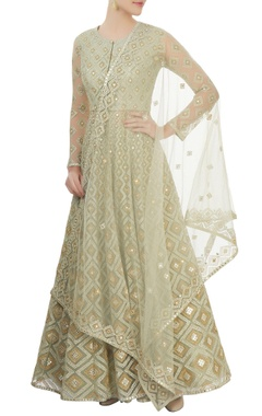 Aneesh Agarwaal Pearl green embroidered anarkali set