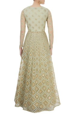 Pearl green embroidered anarkali set
