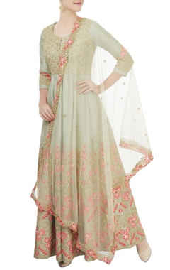 Aneesh Agarwaal Light green embroidered anarkali Set