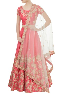 Aneesh Agarwaal Pink embroidered lehenga set