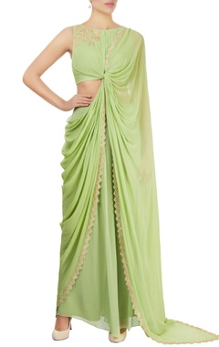 Apple green draped sari