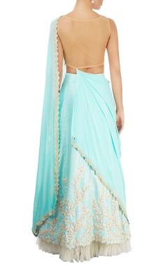 ice blue draped sari