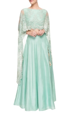 Mint green lehenga set with attached dupatta
